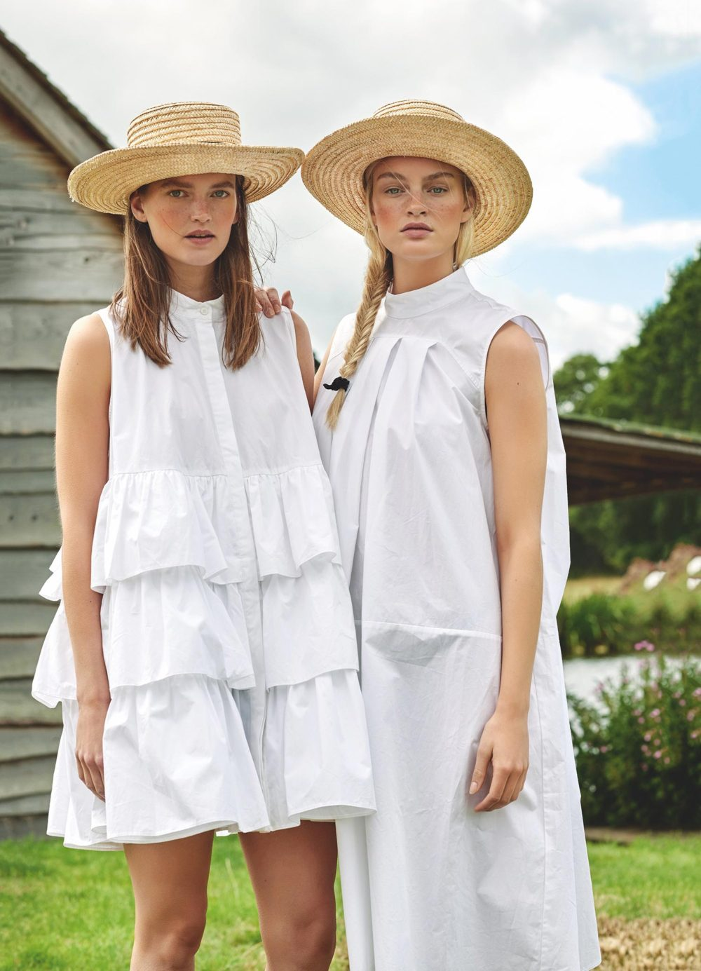 white dresses country style, straw hats
