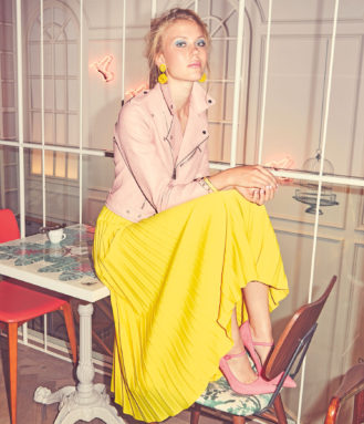 pink jacket, yellow dress