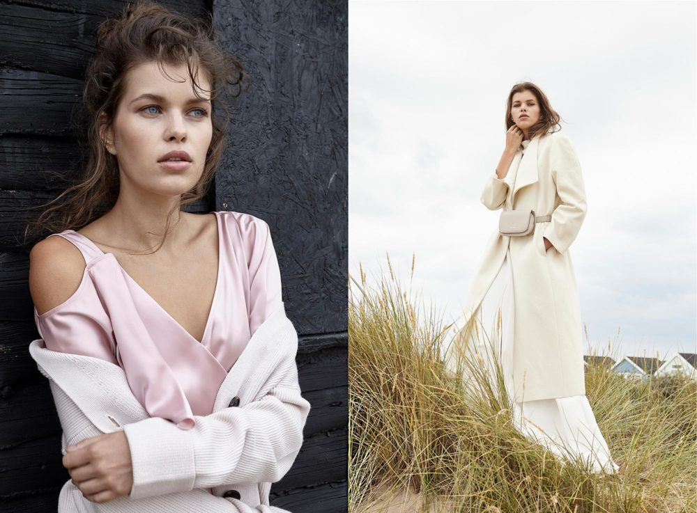 two photos: long white coat, pink top