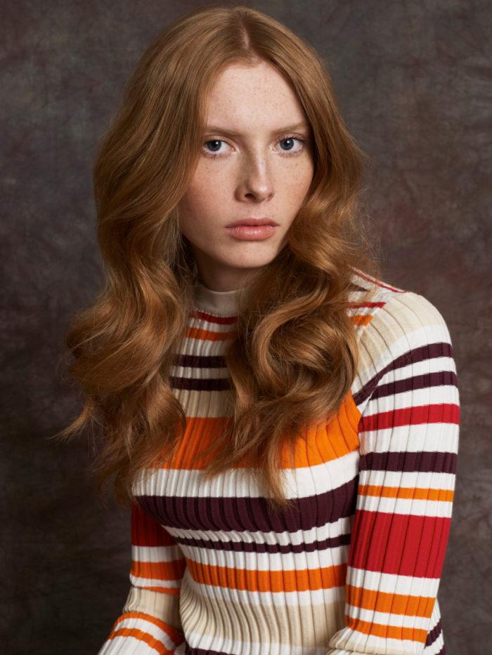 orange and browns stripe top