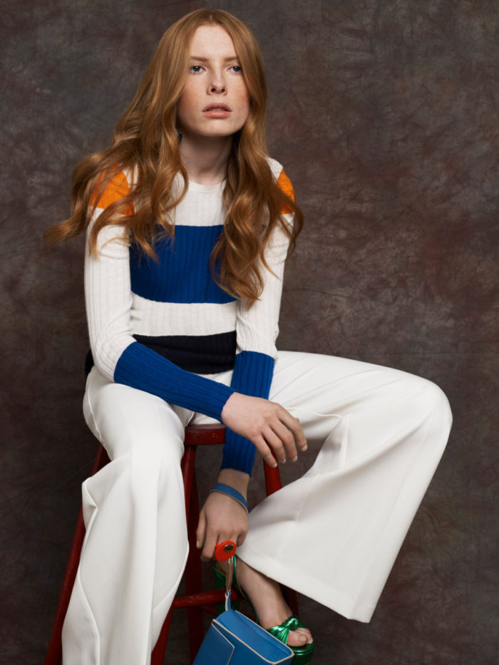 WHite trousers, blue and white top