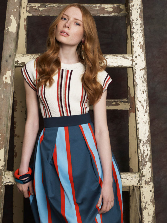 Blues and orange stripey skirt, white and orange stripe top