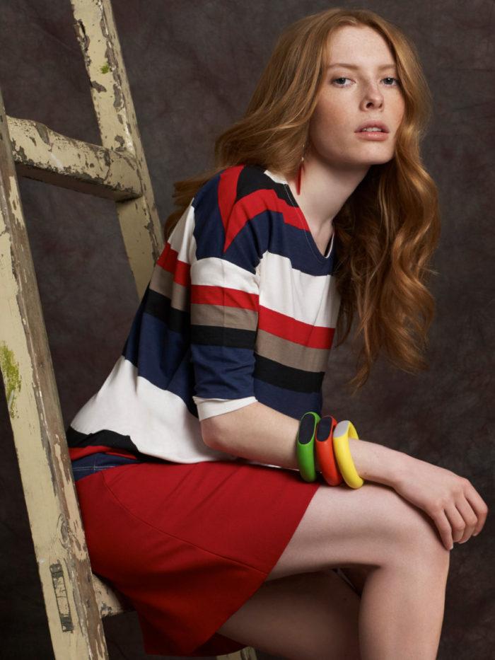 Red, white, orange and blue stripey dress