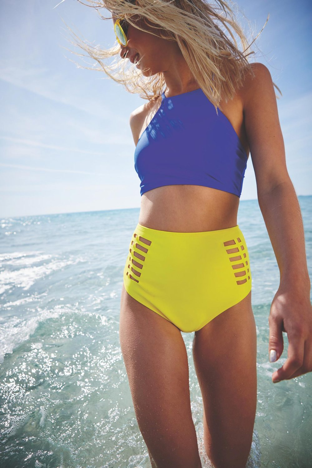 two piece swimsuit: blue and yellow