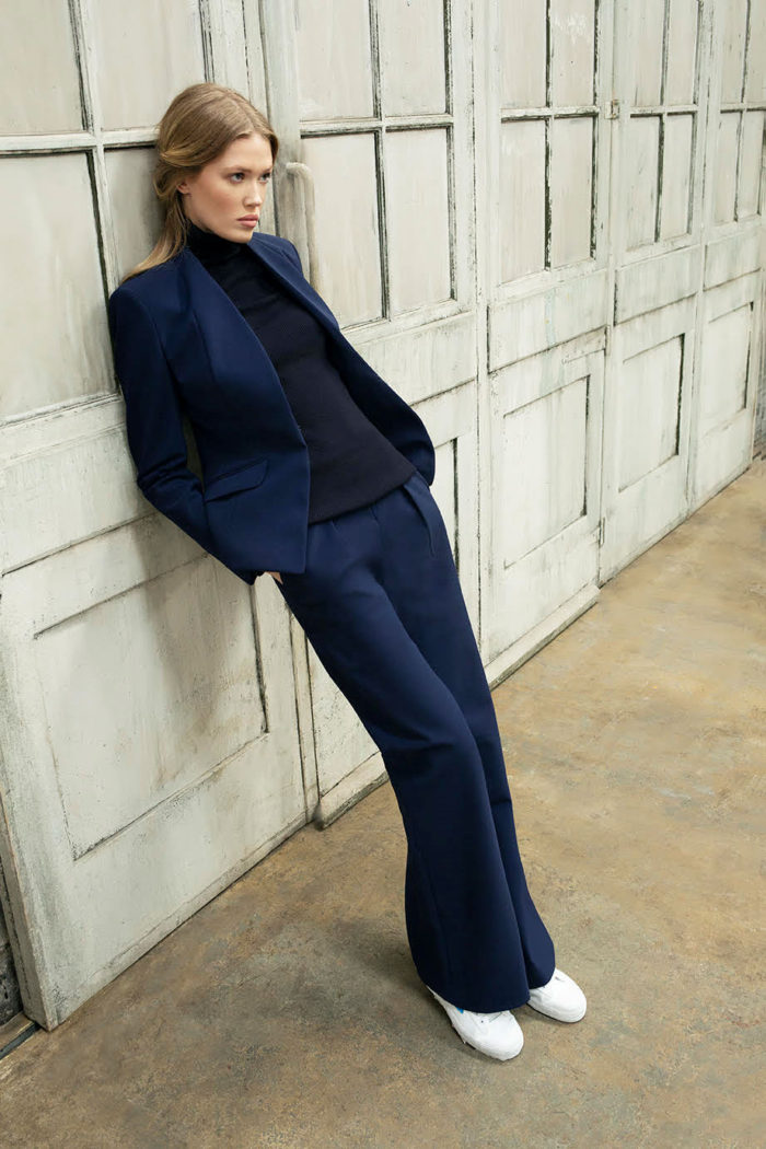 Navy Blue suit, dark top
