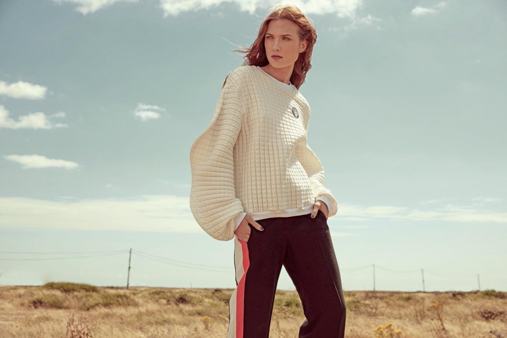 trousers with stripe and white jumper
