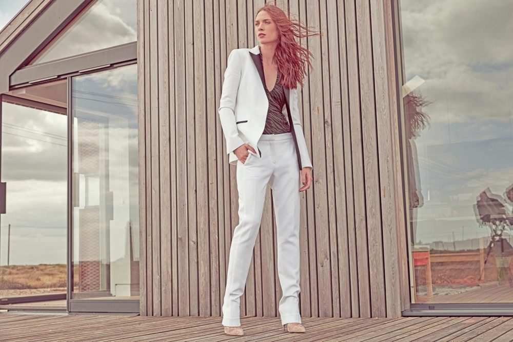 light trouser suit and heels