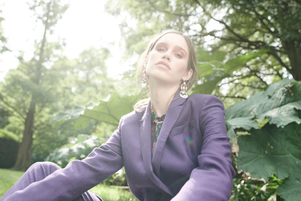 purple satin jacket suit